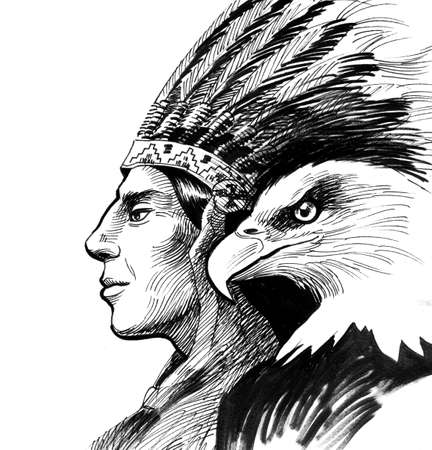 American Indian and eagle Foto de archivo