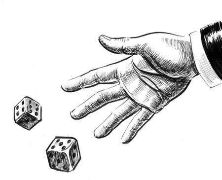 Hand tossing dice Stockfoto
