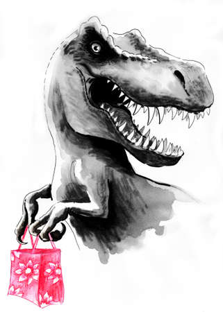 T Rex with a shopping bag