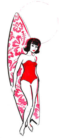 Pretty girl with a surfing board