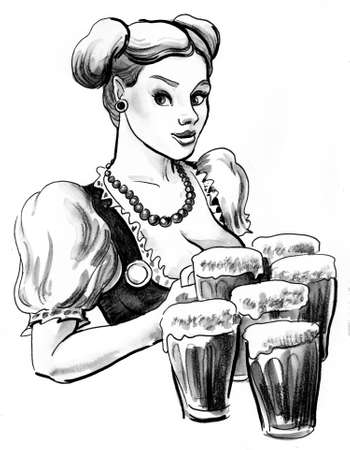 German waitress with beer mugs