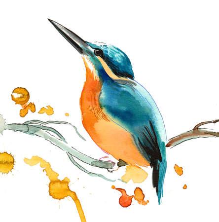 Watercolor bird sitting on a tree 스톡 콘텐츠