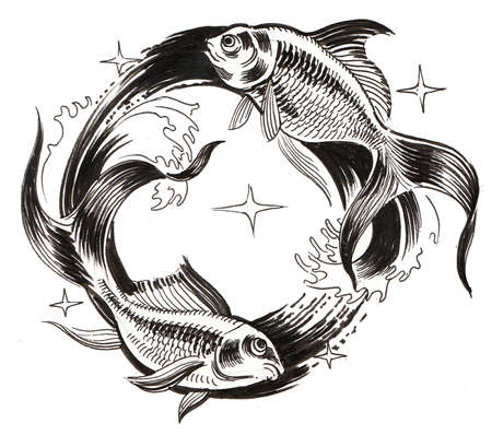 Fishes astrological sign 스톡 콘텐츠