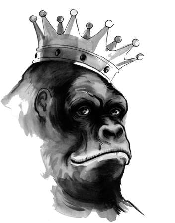 Gorilla king in crown