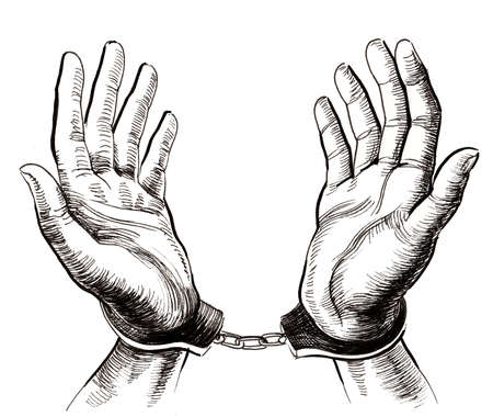 Hands in handcuffs Stock fotó