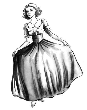 Girl in beautiful dress hand drawing
