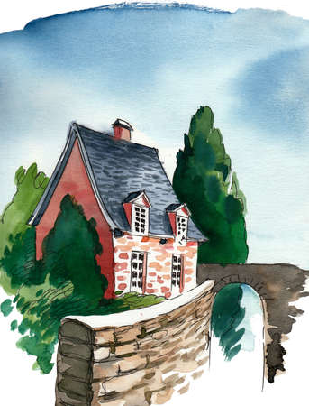 Old house Watercolor sketch