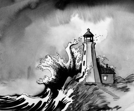 Lighthouse on a shore hand drawing