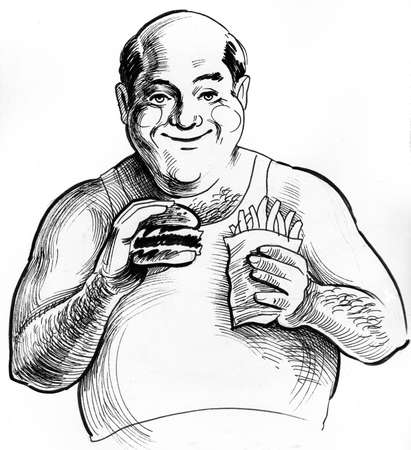 Fat man eating burger and french fries hand drawing Reklamní fotografie
