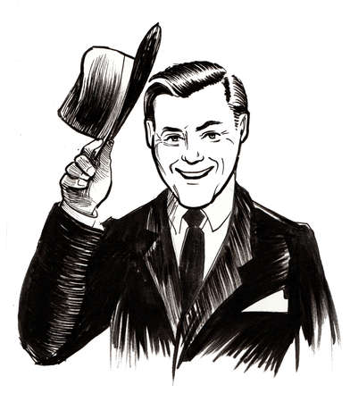 Greeting man hand drawing