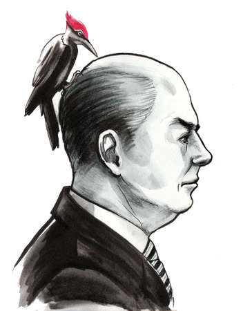 Gentleman and woodpecker hand drawing Stockfoto