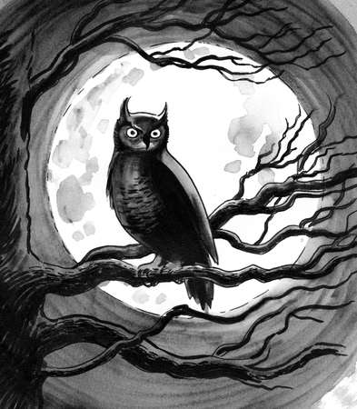 Owl on a tree with a moon in the background