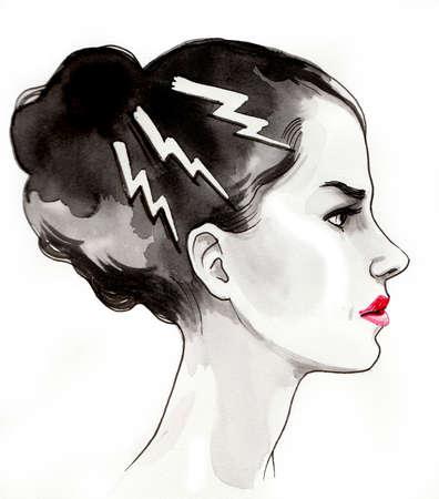 Angry girl ink illustration Banco de Imagens - 134343013