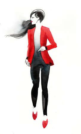 Fashion watercolor sketch Zdjęcie Seryjne
