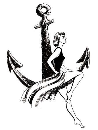 Woman sitting on anchor 스톡 콘텐츠
