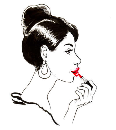 Girl with a lipstick 스톡 콘텐츠