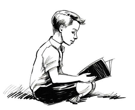 Sitting boy reading a book. Ink black and white illustration