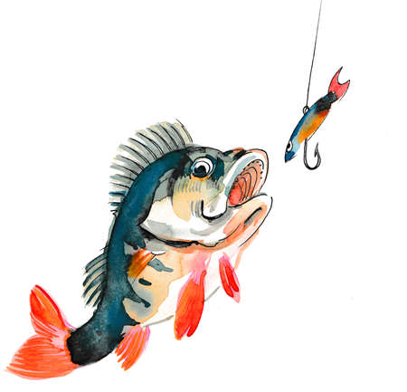 Fish and fishing hook. Watercolor painting