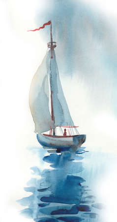 Watercolor painting of a sailing boat