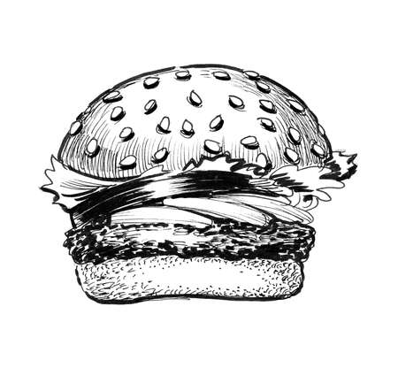 Tasty burger. Ink black and white drawing 스톡 콘텐츠