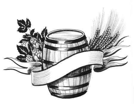 Barrel, hops, and barley, Ink black and white drawing Stockfoto - 134284652