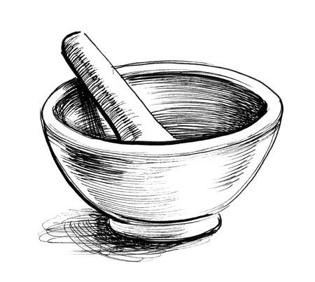 Mortar and pestle. Ink black and white drawing