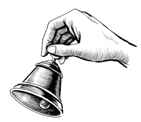 Hand with a bell. Ink black and white drawing