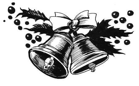 Christmas bells. Ink black and white drawing 版權商用圖片