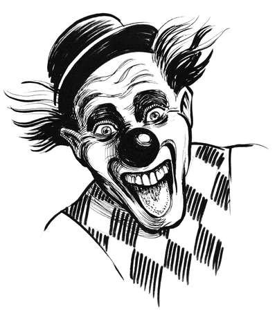Roześmiana twarz klauna. Czarno-biały rysunek tuszem