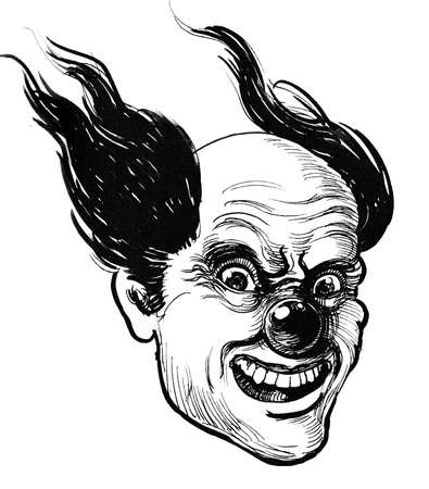 Mad clown face. Ink black and white drawing