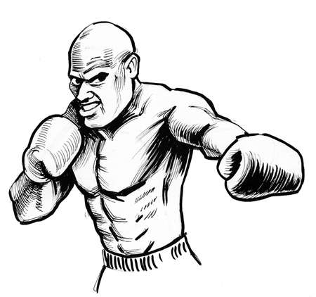 Mad boxer. Ink black and white illustration