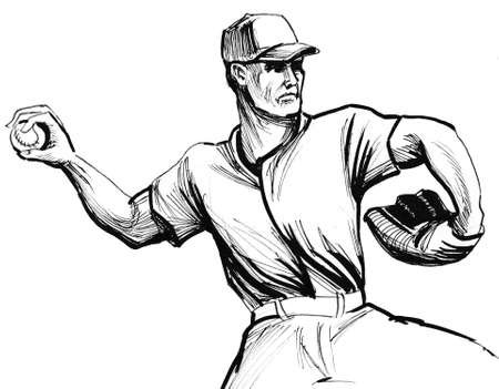Ink black and white sketch of a baseball player Stock Photo