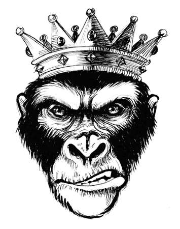 Royal king in crown. Ink black and white illustration Imagens