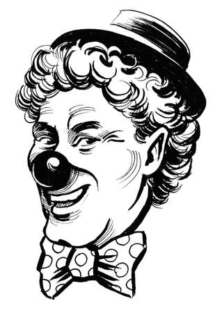 Clown head. Ink black and white drawing Zdjęcie Seryjne