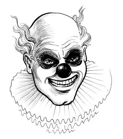 Scary clown. Ink black and white drawing Banco de Imagens - 134215644