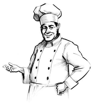Inviting chef character. ink black and white drawing