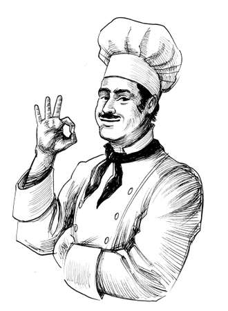 Chef showing o.k. sign. Ink black and white drawing Banque d'images - 134215660