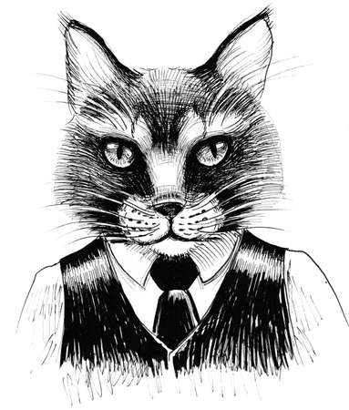 Cool cat. Ink black and white drawing