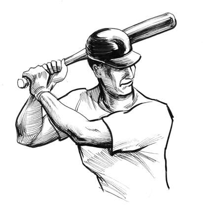 Baseball player with a bat. Ink black and white illustration