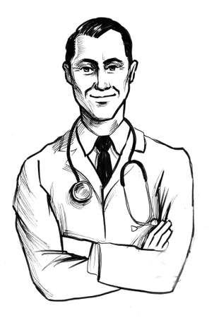 Smiling family doctor. Ink black and white illustration 스톡 콘텐츠