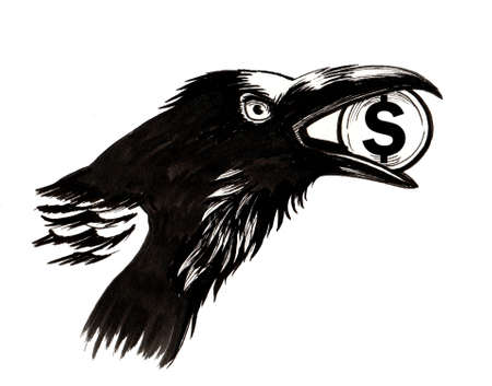 Crow with a stolen dollar 스톡 콘텐츠