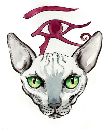 Sphinx cat with Egyptian symbol