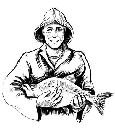 Fisherman with a salmon fish