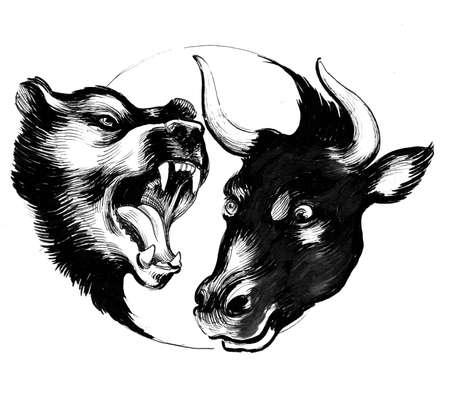Fighting bear and bull 版權商用圖片 - 134150330