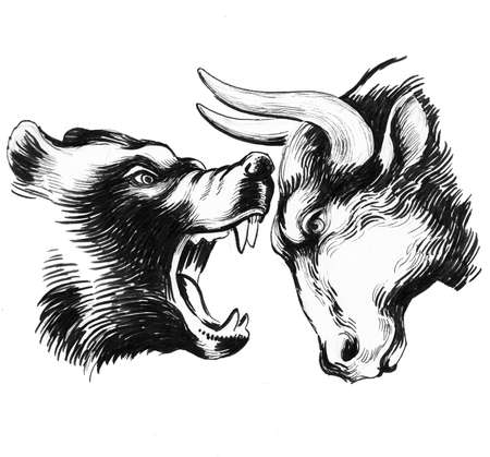 Bear and bull 写真素材