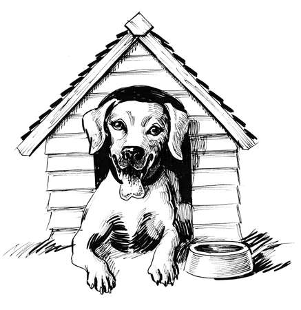 Dog in the house. Ink black and white illustration Stockfoto - 101820423