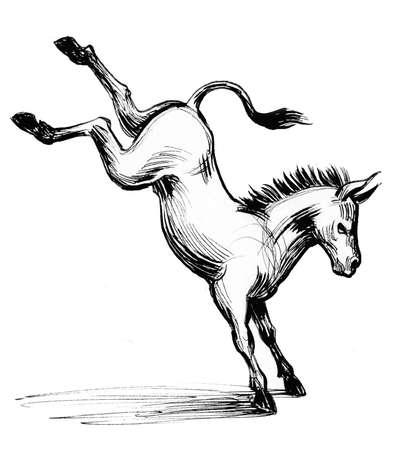 Kicking donkey. Ink black and white illustration Stock Photo
