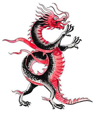 Chinese dragon. Ink and watercolor illustration Foto de archivo - 101758775