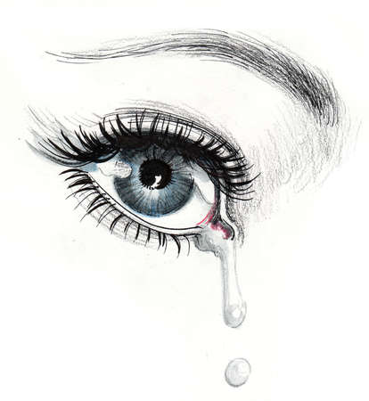 Eye and tear. Ink and watercolor illustration Stock fotó