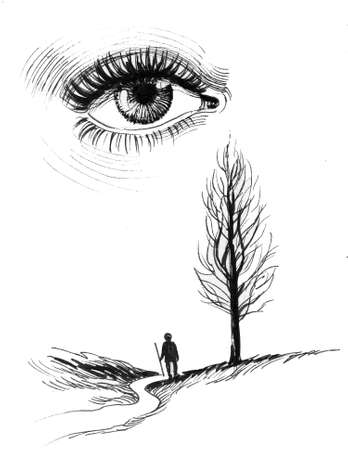 Eye, path and lonely stranger